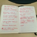 Early notes for The Bloody-Handed novella. Red ink=bloody! This story changed completely after a re-plan